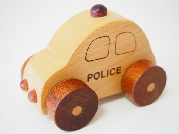 画像1: 木製ミニカー[働く車シリーズ]/パトカー