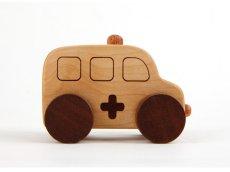 画像5: [アウトレット15%OFF]木製ミニカー[働く車シリーズ]バス、救急車、パトカー、消防車、ミキサー車 (5)