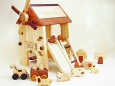 画像2: アウトレット25%OFF 木のおもちゃ 知育玩具 1歳 2歳 3歳 ドールハウス 動物人形と風車小屋セット 名前入 組立式 おうちごっこ おもちゃ ドール 滑り台 ブランコ はしご 馬車 木製ドライバー (2)