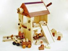 画像4: アウトレット25%OFF 木のおもちゃ 知育玩具 1歳 2歳 3歳 ドールハウス 動物人形と風車小屋セット 名前入 組立式 おうちごっこ おもちゃ ドール 滑り台 ブランコ はしご 馬車 木製ドライバー (4)