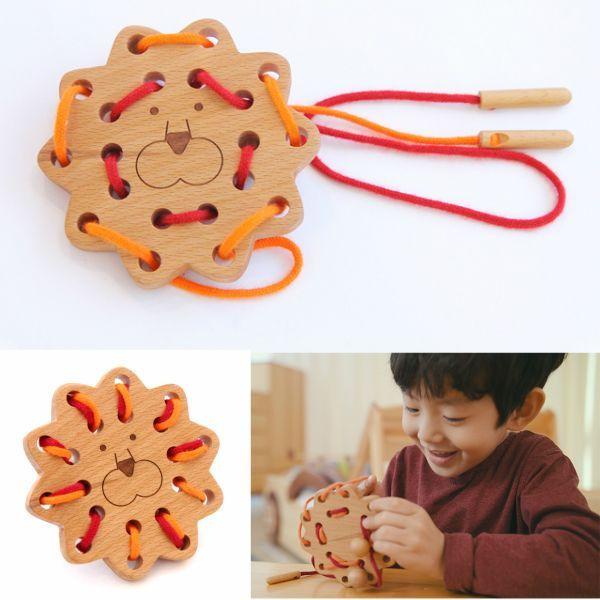 画像1: 知育玩具 紐通し ライオン 知育おもちゃ 3歳 4歳 ひも通し おもちゃ (1)