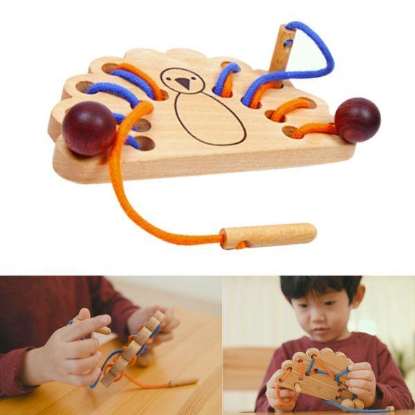 画像1: 知育玩具 紐通し クジャク 知育おもちゃ 3歳 4歳 ひも通し おもちゃ (1)