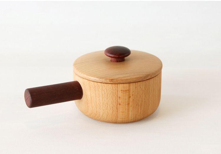 画像1: 木製ままごと 天然木のお鍋 単品 調理器具シリーズ  木のおもちゃ ままごとおもちゃ 片手鍋 両手鍋 お釜 木のおままごと 料理 クッキング  (1)